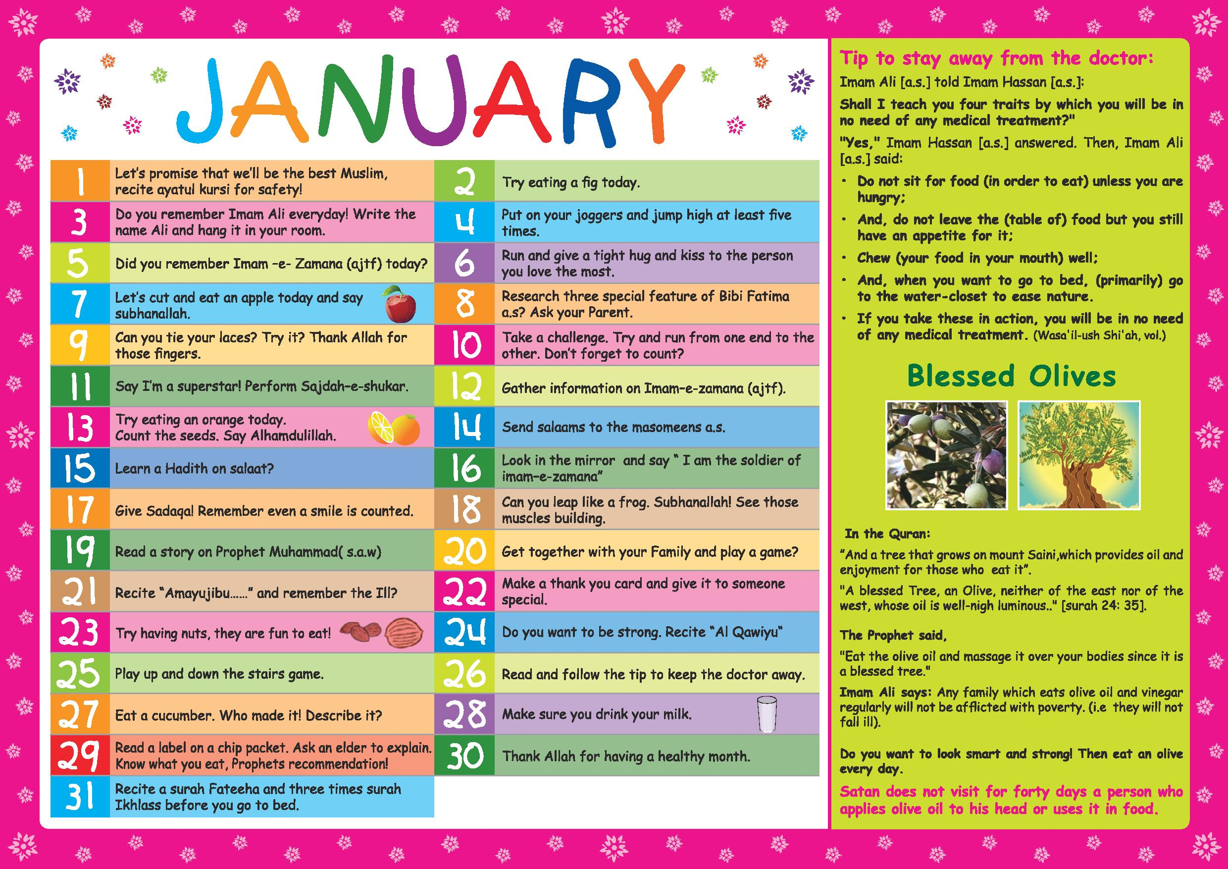 Children S Health Calendar Buzz Ideazz